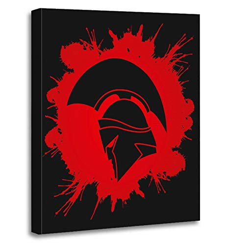 Price comparison product image Emvency Painting Canvas Print Artwork Decorative Print Gym Spartan Warrior Helmet Designed on Splatter Blood Graphic Leader Sparta Wooden Frame 16x20 inches Wall Art for Home Decor