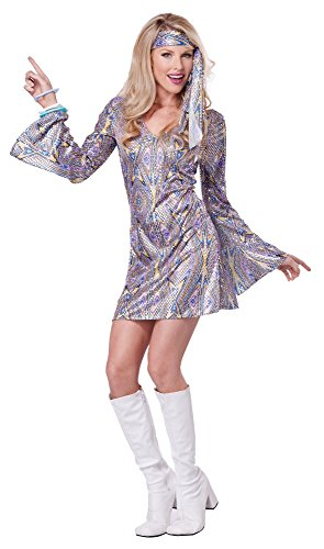 Priscilla Presley Costume (California Costumes Women's Disco Sensation 70's Dance Costume, Purple,)