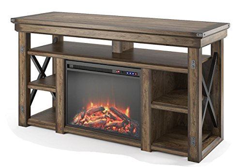 Farmhouse Living Room Furniture Ameriwood Home Wildwood Fireplace TV Stand, Rustic Gray farmhouse tv stands