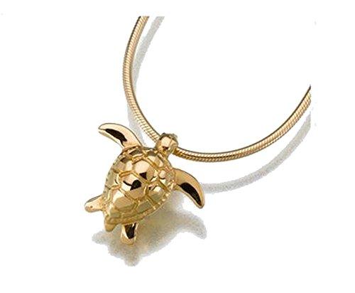 Gold Vermeil Sea Turtle Cremation Pendant- Attractive Black Velvet Gift - Turtles Vermeil