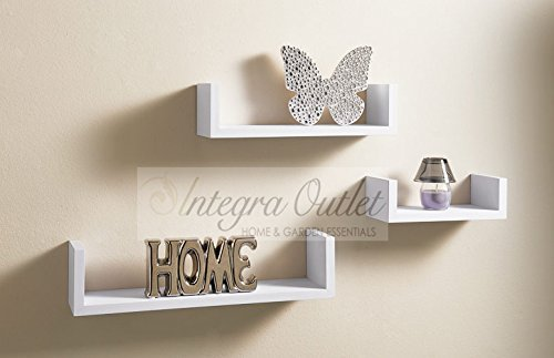 Set Of 3 Floating Shelves Wall Shelf Home Storage White