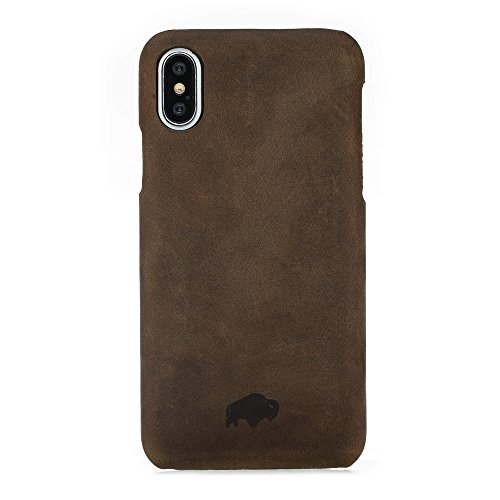 Burkley Genuine Leather Snap-on Case for Apple iPhone X | Slim & Lightweight Back Cover | Antique Coffee