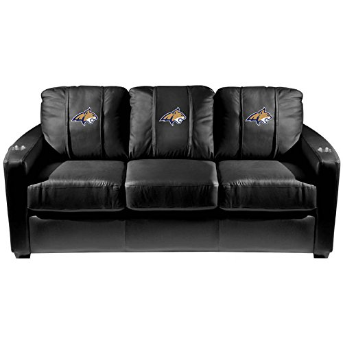 XZipit College Silver Sofa with Montana State Bobcats Primary Logo Panel, Black