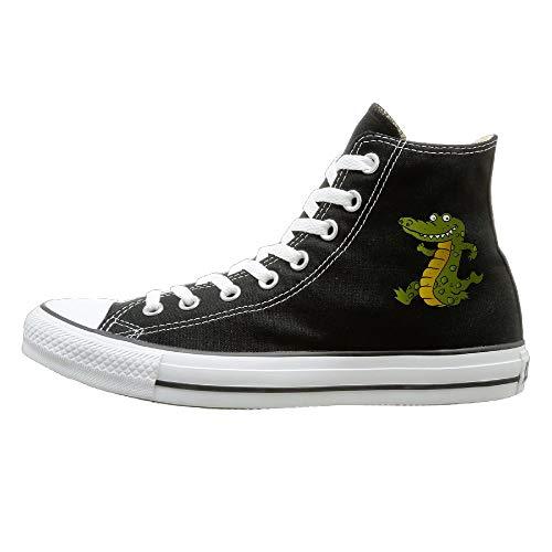 FOOOKL Cartoon Crocodile Canvas Shoes High Top Casual Black Sneakers Unisex Style 42 ()