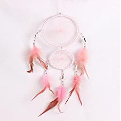 LtrottedJ Handmade Lace Dream Catcher, Feather Bead Hanging Decoration Ornament Gift (Pink)