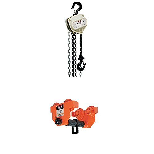 Jet S90-150-15 S90 Series Hand Chain Hoists with 1-1/2-PT, 1-1/2-Ton Heavy Duty Manual Trolley -