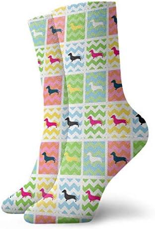 カラフルなダックスフント愛犬のドレスソックス面白い靴下クレイジーソックス女の子のためのカジュアルな靴下男の子男の子30 cm
