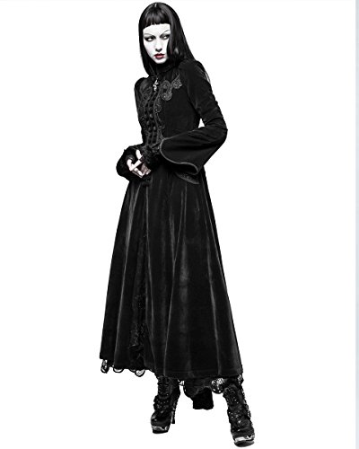 Vintage Chaqueta Rave steampunker Gótico Dama largas Negro Terciopelo Punk Vestido Victoriano wSCvqqd