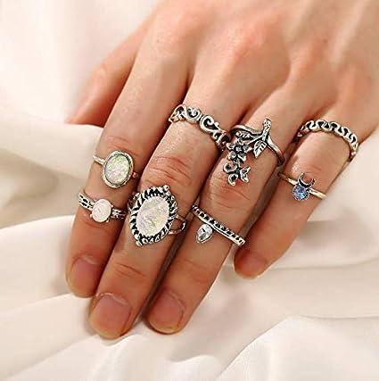 Ensemble 8pcs Lot Fantaisie Fleur Diamant Original Bijoux Boh/ème Ethnique Vintage Retro Cadeau Pas Cher Turquoise Freesiom Bagues de Phalange Femme