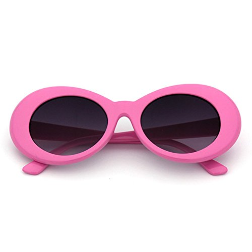 The Culture Classic's Sunglasses Cobain Oval Thick Frame Clout Goggles (Pink Frame + Grey - Khalifa Wiz Glasses
