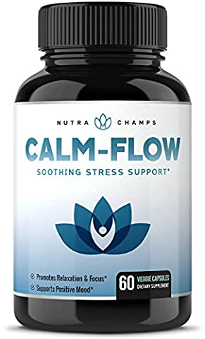 CALM FLOW Stress Relief Supplement - Herbal Blend & Vitamin B Complex - Keep Your Mind & Body Relaxed, Focused & Positive - Boosts Seratonin, Mood, & Relieves Anxiety - Ashwagandha, Rhodiola & - Adrenal Boost
