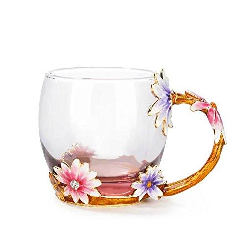 Glass Coffee Mug With Spoon Set 12 Ounce LeadFree Handmade