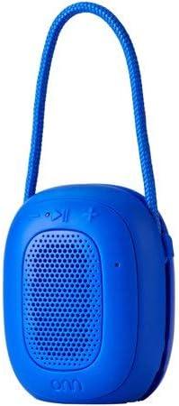 ONN Mini Bluetooth Speaker, Blue, Built-in Speakerphone & Hanging Strip