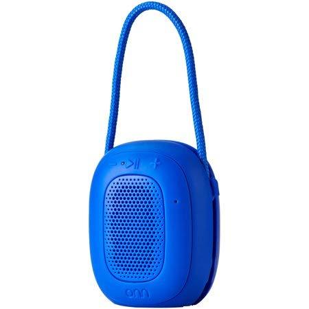 ONN Mini Bluetooth Speaker, Blue, Built-in Speakerphone & Hanging Strip ...