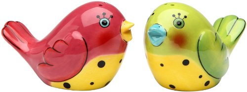Appletree 1-3/4-Inch Ceramic Pink and Green Love Birds Salt and Pepper