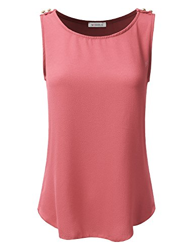 Doublju Loose Fit Tops and Blouses Sleeveless Blouses For Women With Plus Size (Made In USA) Coral Large