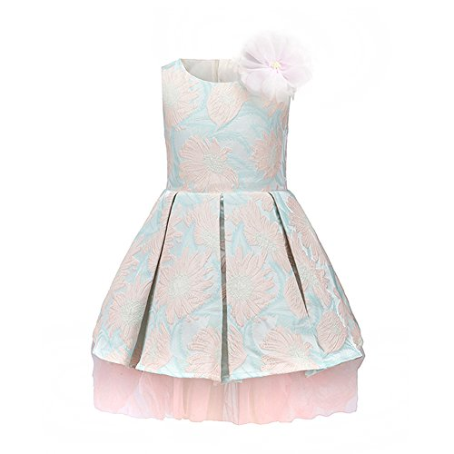 Flower Decoration A-line Pleated Girls Party Dresses for