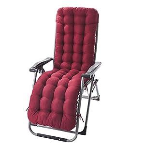 GELing Coussin Chaise Longue avec Anti-dérapant Transat Bain de Soleil Jardin Haut Epais pour Fauteuil,Vin Rouge…