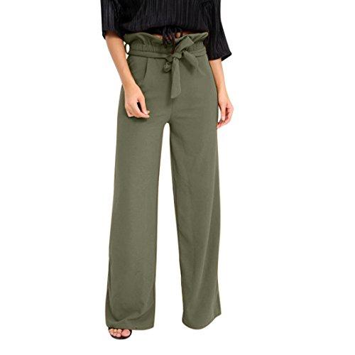 8ea1b5769b58 vermers Clearance Sale Summer Women Pants High Waist Speaker Wide Leg  Straps Lotus Leaf Trousers(