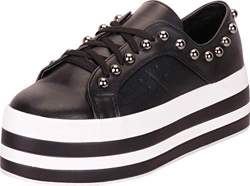 Cambridge Select Women's Retro 90s Lace-Up Studded Striped Flatform Fashion Sneaker (10 B(M) US, Black - Platform Trendy Goth Shoe Black