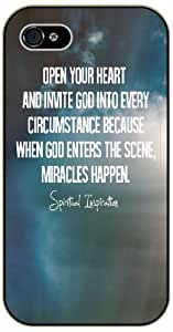 LJF phone case Open your heart and invite ...Miracles happen - Bible verse iPhone 5 / 5s black plastic case / Christian Verses