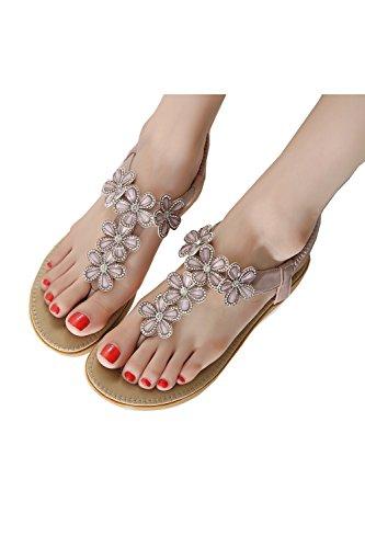 De las mujeres chancletas Zapatos de sandalia De Flores Rhinestones Bohemia estilos Rosado