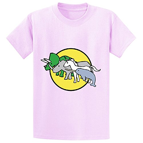 Price comparison product image Horned Warrior Friends Unicorn Narwhal Triceratops Rhino Teen Crew Neck Shirts