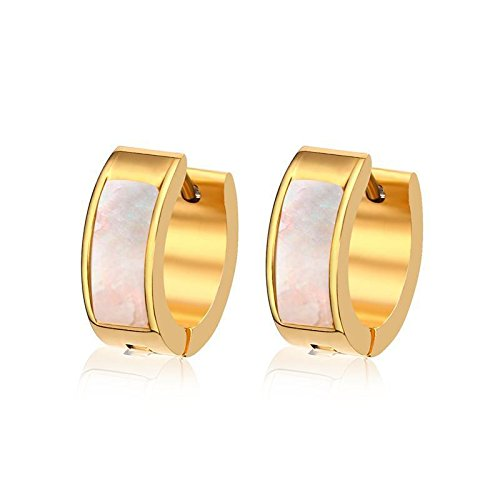 1 Pair Chic Shell Stainless Steel Womens Ear Hook 18K Gold Plated Engagement Earrings
