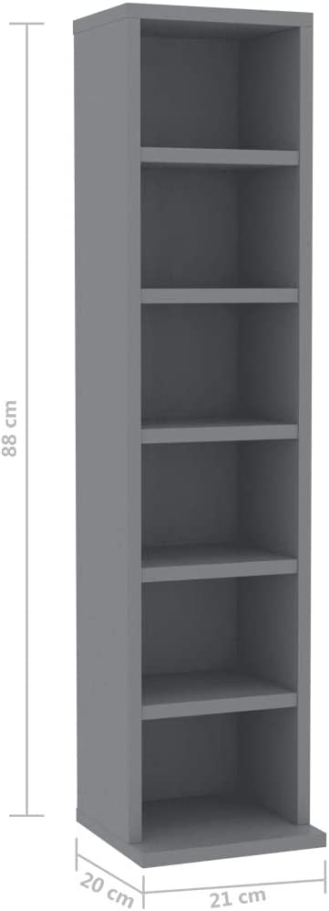 vidaXL CD Cabinet Living Room Records Media Storage Display Shelf Organiser Unit Case Cupboard Furniture Concrete Grey 21x20x88cm Chipboard Grey