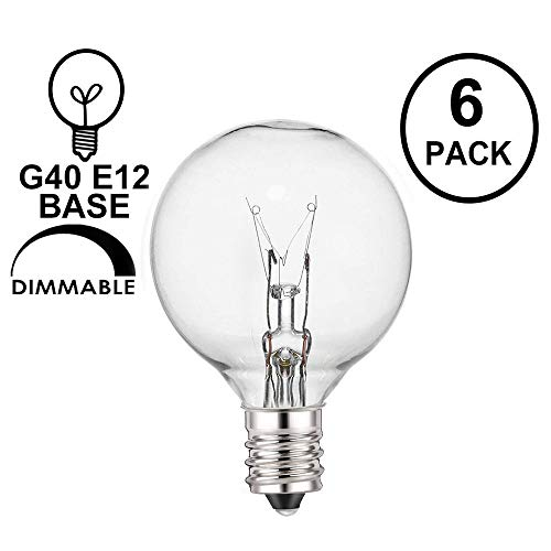 Upook 6 Pack G40 Globe Light Bulbs C7/E12 Base Indoor & Outdoor Use 5 Watt Clear G40 Replacement Bulbs for Patio String Lights, Warm White
