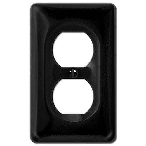 Allena 3020DBK - 1 Duplex Outlet Wallplate in Black Ceramic