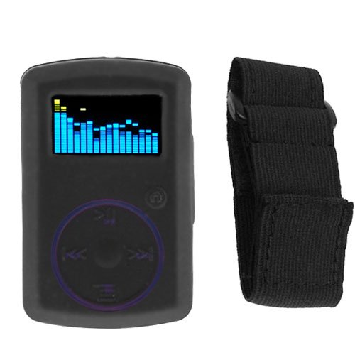 Durable Flexible Black Silicone Skin Case + Adjustable Sports Armband For SanDisk Sansa Clip ()