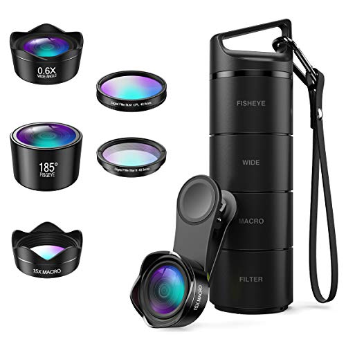 (Upgraded Version) Phone Camera Lens, 5 in 1 Cell Phone Lens Kit, Macro Lens, Wide Angle Lens, Fisheye Lens, CPL, Starburst Lens, with Storage Tube, for iPhone X 8 7, Smartphones (Fisheye Lens I Phone 5)