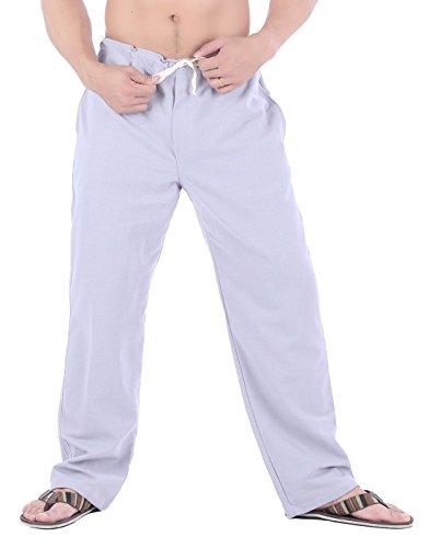 Lounge Pant Drawstring Scrub (CandyHusky Men Cotton Straight-Leg Drawstring Summer Casual Tai Chi Yoga Pants (L, Grey))
