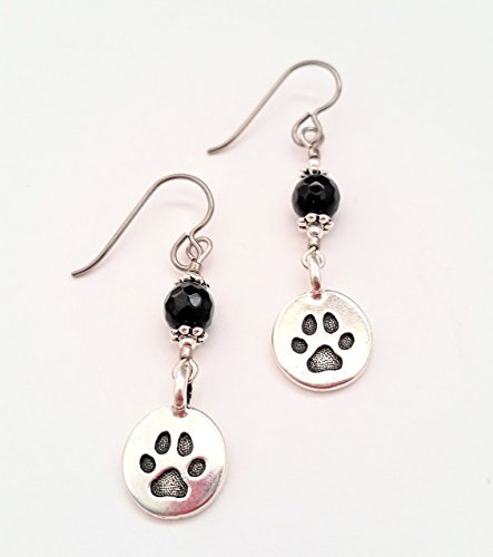 Handcrafted Cat Dog Paw Earrings with Silver Plated Pawprint Charms Hypoallergenic Niobium Ear (Round French Wire Earrings)