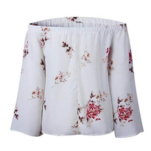Tops Eleganti Grazioso di Vintage Autunno Bluse Carmen Tromba Camicetta White Shirt Floreali Bluse del Moda Grazioso Parola Donna Stlie Maniche Spalla Bretelle Senza Primaverile 2 x7w08Fq7v