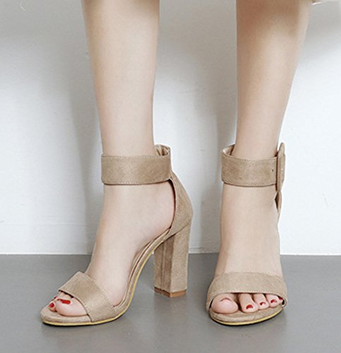 Open Strap Buckled Aisun Elegant Dressy Women's Chunky Heel Ankle Toe High Sandals apricot OxaSqtSw