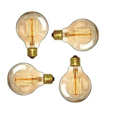 Vintage Edison Bulb 40W - Elfeland Antique Style Incandescent Light Bulbs - Squirrel Cage Filament - Classic Amber Glass - Dia. 80mm - E26/E27 Medium Base - Dimmable