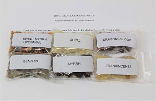 - Rainbowrecords239 Resin Incense Sampler Set of 6: Frankincense - Myrrh - Opoponax - Benzoin - Copal - Dragons Blood