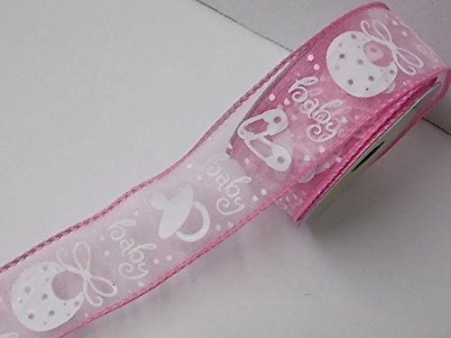 Fabric Ribbon (With Wire Edge) for Gifts for Baby (Pink with bibs) ()