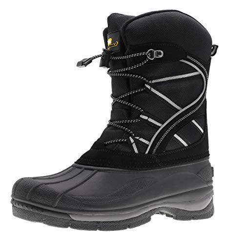 ArcticShield Mens Waterproof Insulated Warm Comfortable Durable Outdoor Ski Winter Snow Boots (7 D(M) US) Black