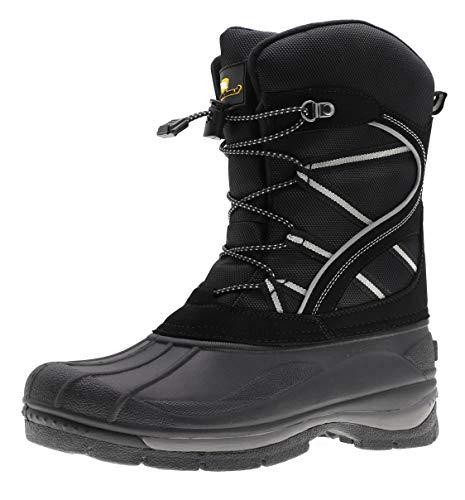 ArcticShield Mens Waterproof Insulated Warm Comfortable Durable Outdoor Ski Winter Snow Boots (7 D(M) US) Black