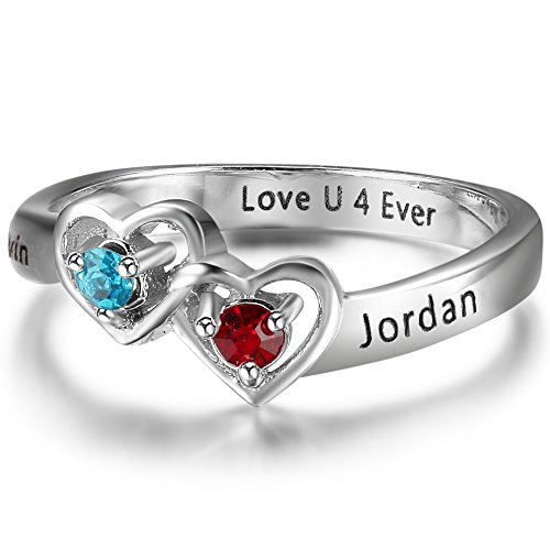 Luolajewelry Personalized 2 Simulated Birthstone 2 Names Heart Rings For Women Engagement Promise Cubic Zirconia Ring (8)
