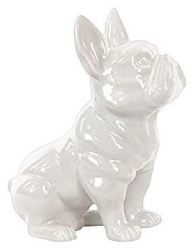 Urban Trends Ceramic Sitting French Bulldog Figurine with Pricked Ears Gloss Finish White
