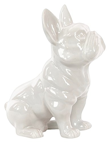 Urban Trends 38484 Ceramic Sitting French Bulldog Figurine with Pricked Ears Gloss White (Bulldogs White Ceramic)