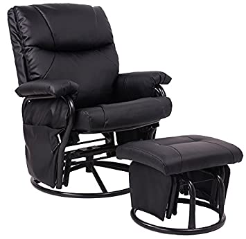 Amazon.com: Merax® Black Pu Leather Nursing Glider Rocker Recliner ...