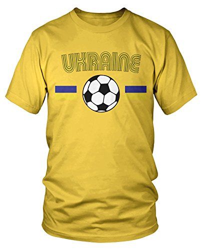 Ukraine Soccer Football - Amdesco Men's Ukrainian Soccer, Ukraine Football T-Shirt, Yellow Medium