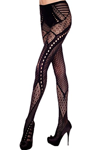 FIYOTE Women Multi Pattern Tight Stockings Fishnet Tights Hollow Out Pantyhose (One size, Black) ()
