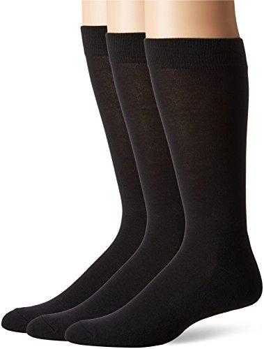 HUE Men's Multistripe Sock with Half Cushion, 3 Pair Pack, Black, Size:10-13/Shoe Size: 6-12