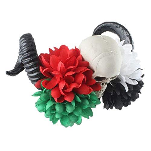 Flower Crown,FTXJ 1PC Halloween headband yak horn hair tiara headband hair hoop Headdress (multicolor A, 52cm)